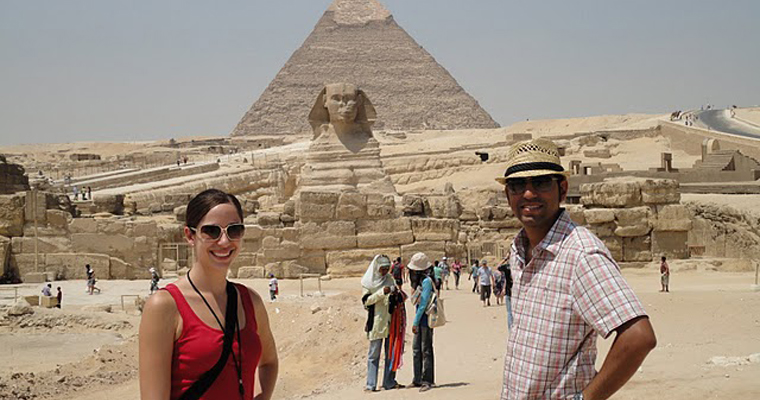 Vishal and Tin visiting the Pyramids and Sphinx in Cairo, Egypt