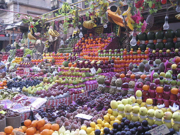 Colorful outdoor market in Cairo