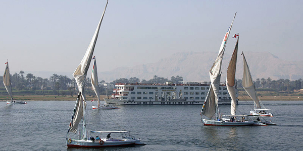 Feluccas on the Nile River near Luxor