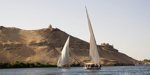 Feluccas sailing on the Nile River
